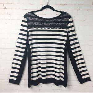 Black & White Striped Sweater | Lace Neckline